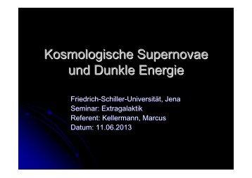 Kosmologische Supernovae und Dunkle Energie