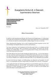 offenes Protestschreiben - Evangelische Superintendenz Steiermark