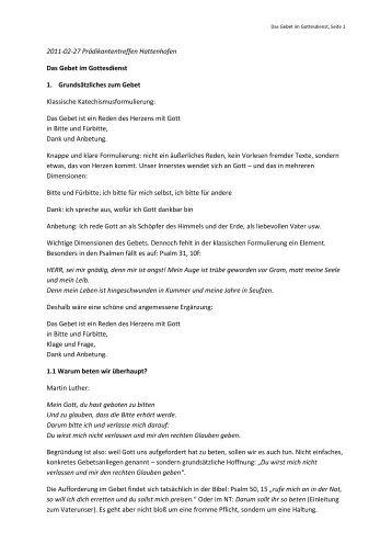 Referat von Dekan Rolf Ulmer über das Gebet im Gottesdienst