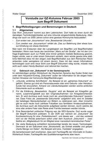 TerminusTechnicus Vorstudie 2003-02 - QZ-online.de