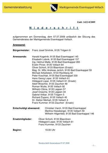 Gemeinderatsitzung 07. Juli 2009 - Bad Eisenkappel