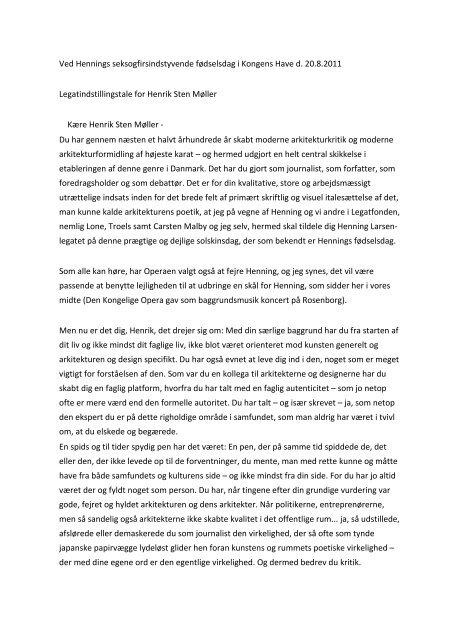 Læs Kent Martinussens tale til Henrik Sten Møller - Henning Larsen ...