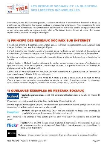 réseaux sociaux - Pôle de compétences TICE CPE - Académie de ...