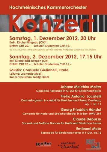 Samstag, 1. Dezember 2012, 20 Uhr Sonntag, 2. Dezember 2012 ...