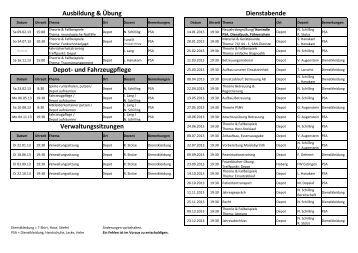 Dienstplan 2012 Depot radolfzell