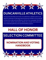 HALL OF HONOR SELECTION COMMITTEE NOMINATION AND ...