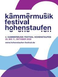 Programmheft - kammermusik festival hohenstaufen