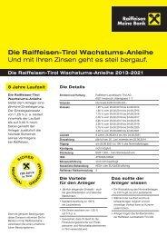 Die Raiffeisen-Tirol Wachstums-Anleihe Und mit Ihren Zinsen geht ...
