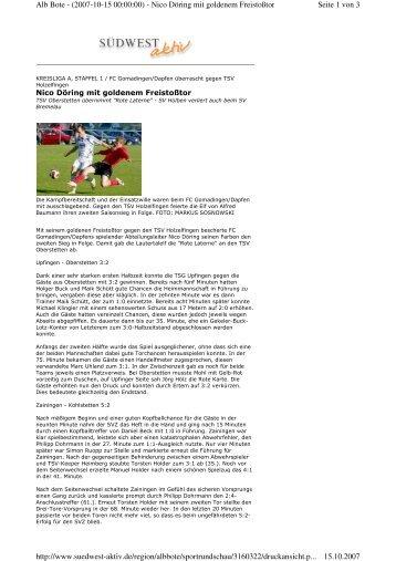 Seite 1 von 3 Alb Bote - (2007-10-15 00:00:00) - Nico Döring mit ...