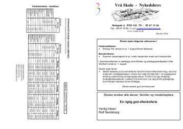 Nyhedsbrev nr 18 - okt 2004 - Vrå Skole