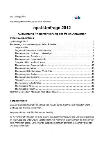 opsi-Umfrage 2012 - opsi Download - uib