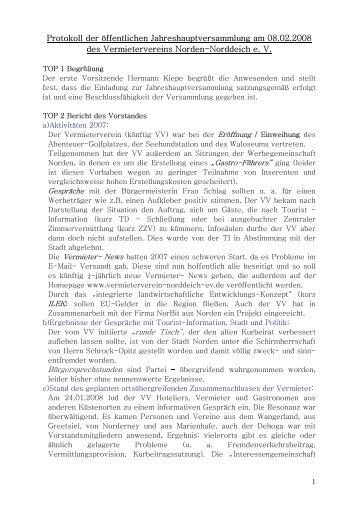 Protokoll - Vermieterverein Norden Norddeich eV