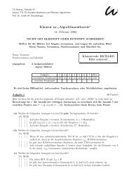 """Klausur zu """" Algorithmentheorie"""" 14. Februar 2002 - TU Ilmenau"""