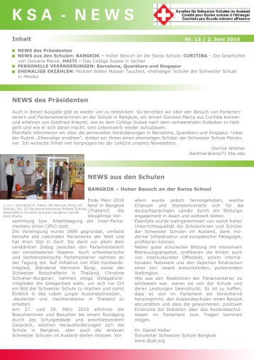 KSA-News Nr. 13 / 2. Juni 2010 - educationsuisse
