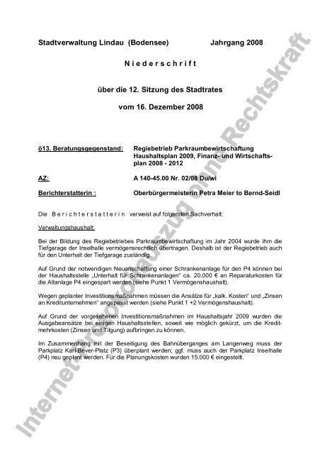 Jahrgang 2008 N iederschrift über die 12. Sitzung des ... - Lindau