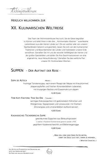 XII. KULINARISCHEN WELTREISE - Alchimistenklause