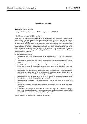 Drs. 16-0442 (PDF, 32 KB) - Niedersächsischer Landtag