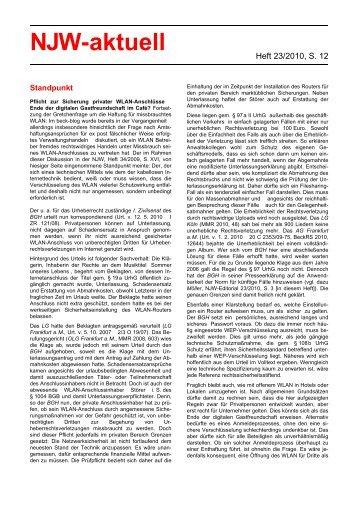 NJW 23/2010, Rechtsanwalt Dr. Karsten Kinast, LL.M.