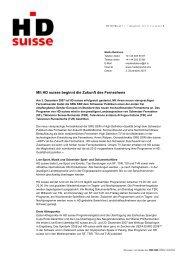 Mit HD suisse beginnt die Zukunft des Fernsehens - Schweizer ...