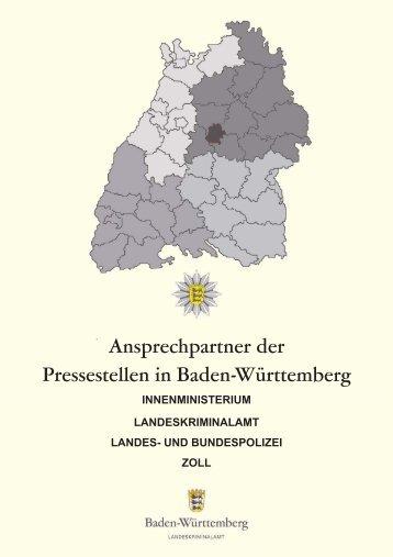 Ansprechpartner der Pressestellen in Baden-Württemberg