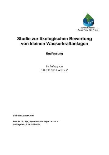 Studie zur ökologischen Bewertung von kleinen Wasserkraftanlagen