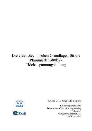Die elektrotechnischen Grundlagen für die Planung der 380kV ...