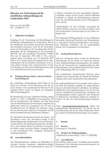 Hinweise zur Vorbereitung auf die schriftlichen Abiturprüfungen im ...