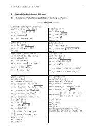 Lösungen zu quadratische Funktion und Gleichung - Bernhard Ullrich