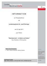 Medieninfo vom 20.04.2011: Neue Publikation: OÖ Kenngrößen - TMG