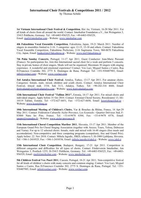 International Choir Festivals Competitions Thomas Schule Ma