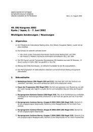 Aenderungen 49. ISU-Kongress (Alle Sparten)