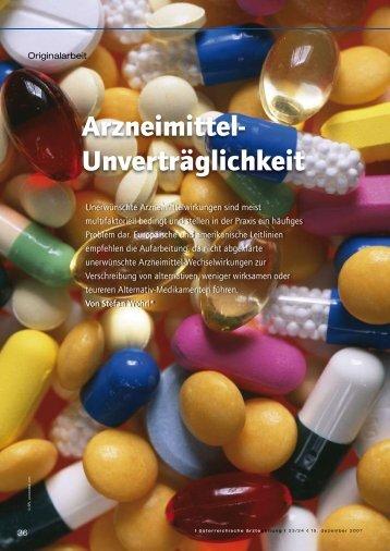 Arzneimittel- Unverträglichkeit - Arbeitsgruppe Allergologie