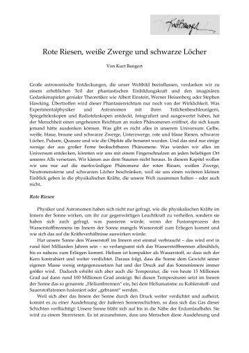 Rote Riesen, Weiße Zwerge und Schwarze Löcher - Kurt Bangert.de