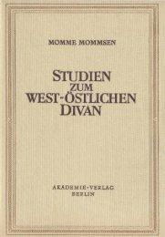 studien zum west-östlichen divan - von Katharina Mommsen