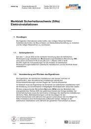 Merkblatt Sicherheitsnachweis (SiNa) Elektroinstallationen - ewzert ag