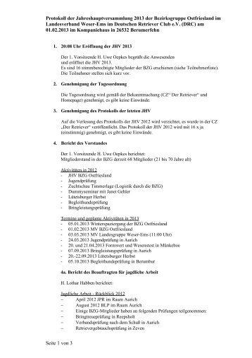 Protokoll der Jahreshauptversammlung 2013 - DRC ...