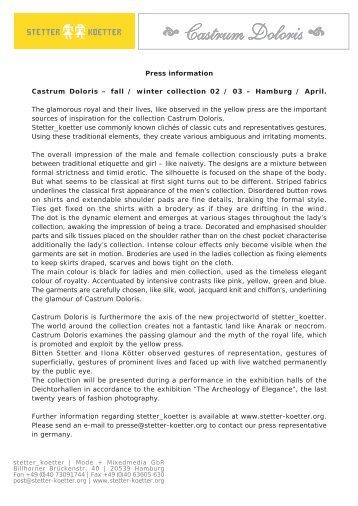 Press information Castrum Doloris – fall / winter ... - Stetter Koetter