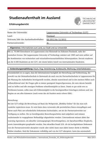 Studienaufenthalt im Ausland - Fachbereich Rechts- und ...