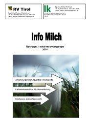 Übersicht Tiroler Milchwirtschaft 2010 - Raiffeisenverband Tirol
