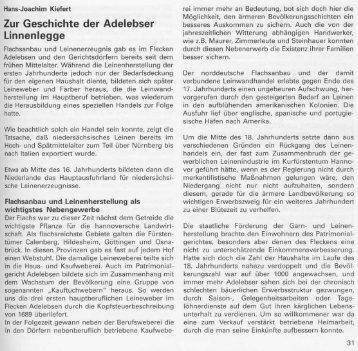 Adelebser Linnenlegge - Heimatpflege im Uslarer Land