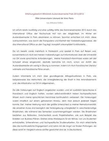 Erfahrungsbericht ERASMUS - Hochschule Hof