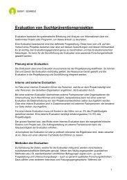 Evaluation von Suchtpräventionsprojekten - Sucht Schweiz