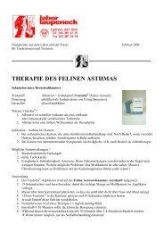 THERAPIE DES FELINEN ASTHMAS - Labor - Laupeneck