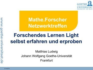 Die Workshop-Unterlagen von Prof. Dr. Matthias ... - Mathe.Forscher