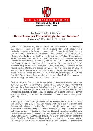 4. Adventsonntag (19.12.2010) - martyria.de