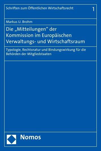 """Die """"Mitteilungen"""" der Kommission im Europäischen ... - Nomos"""