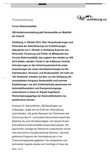 PM_ForumElektromobilitaet_Fazit_101004 - Wolfsburg AG