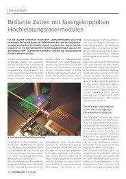 Brillante Zeiten mit fasergekoppelten ... - Laser Magazin