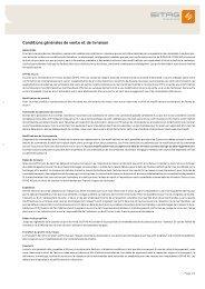 Conditions générales de vente et de livraison