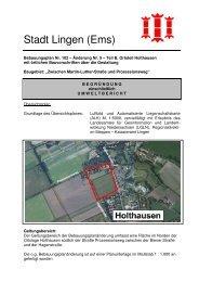 Begründung einschließlich Umweltbericht - Stadt Lingen
